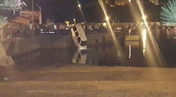 Park halindeki hafif ticari araç denize düştü