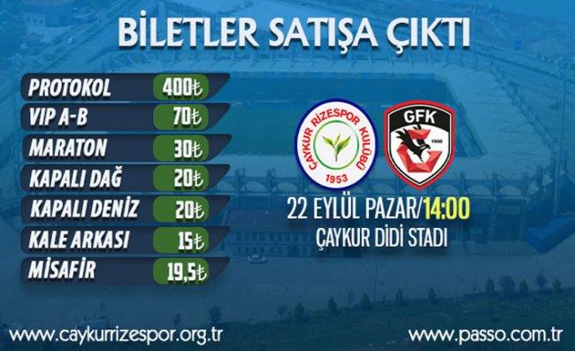 Ç.Rizespor - Gazişehir Maçı Biletleri Satışa Çıktı