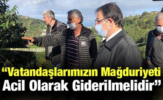 CHP Rize Heyeti Heyelan Bölgesinde İncelemeler Yaptı