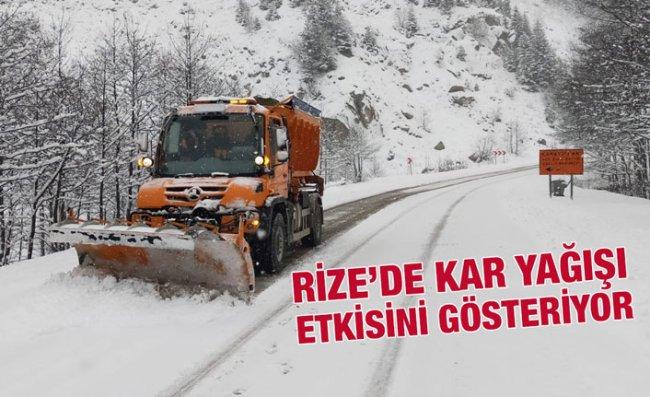 Rize'nin Yüksek Kesimlerinde Kar Yağışı Etkili Oluyor