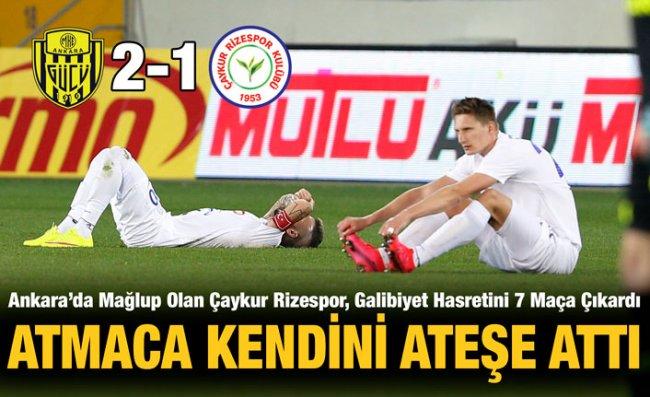 Çaykur Rizespor, Başkentten Eli Boş Döndü: 2-1