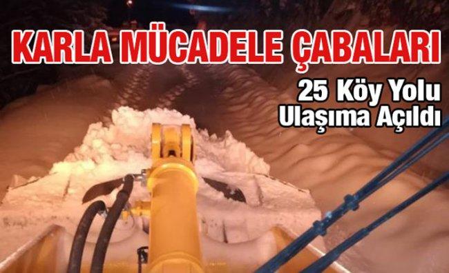 Rize'de Kardan Kapanan Köy Yolları Açılıyor