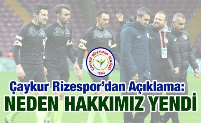 Çaykur Rizespor'dan Sert Açıklama
