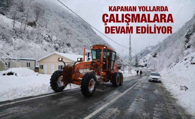 Rize'de Kar Yağışı Nedeniyle 153 Köy Yolu Kapandı