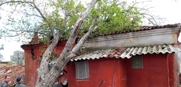 Ağaç evin üzerine devrildi
