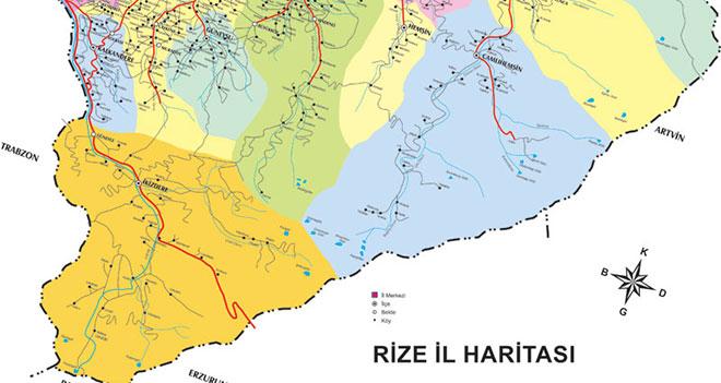 Rize il ve ilçe haritaları