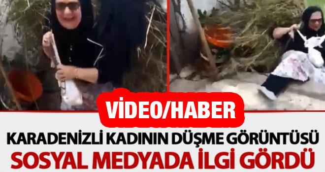 Karadenizli Kadının Düşme Görüntüsü Sosyal Medyada İlgi Gördü